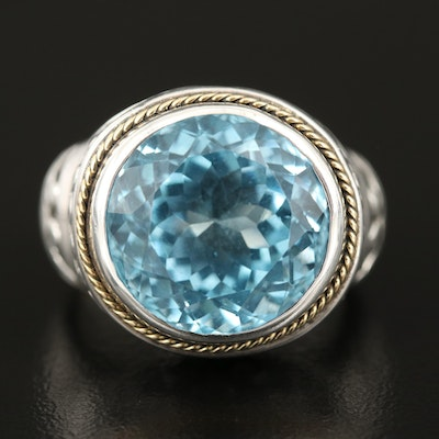 Sterling Swiss Blue Topaz Statement Ring with 18K Accent