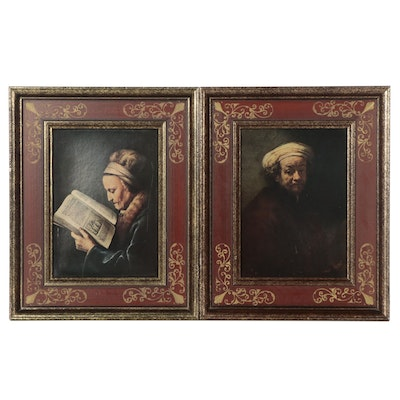 Offset Lithographs After Gerard Dou and Rembrandt, Late 20th Century