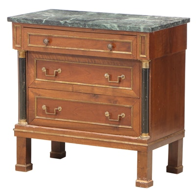 Empire Style Walnut and Green Marble Three-Drawer Bedside Commode, 20th Century