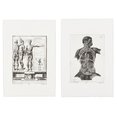 """Andy Hudson Etchings """"Growth Plate"""" and """"Il Rognone,"""" 1998"""