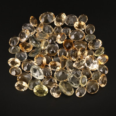 Loose 162.08 CTW Mixed Faceted Citrine and Prasiolite