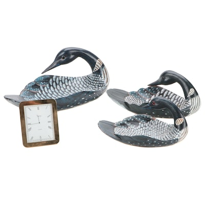 Canadian Wildlife Collectibles Duck Form Console Bowls with Asprey Clock