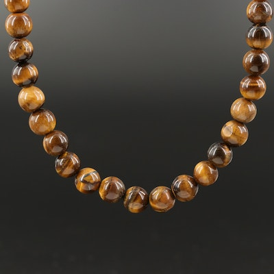 14K Tiger's Eye Beaded Necklace  with Pouch