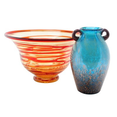 Contemporary Handblown Art Glass Centerpiece Bowl and Vase
