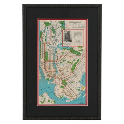 George J. Nostrand Photomechanical Print Map of New York City, Circa 1940
