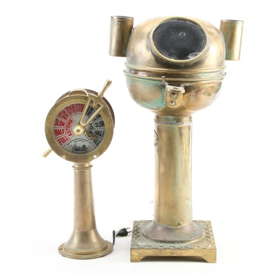 Nautical Brass Binnacle Compass with Other Engine Room Telegraph, 20th C.