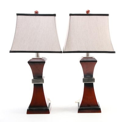 Contemporary Wooden Table Lamps with Black Edged Fabric Shades