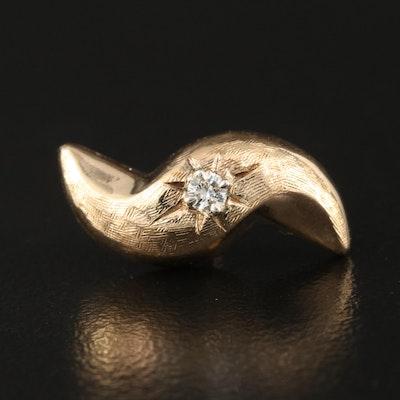 Vintage 14K 0.05 CT Diamond Star Set Pin with Florentine Finish