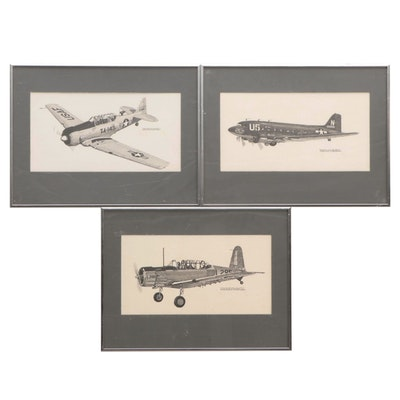 Joe Milch Lithographs of Aircraft Illustrations, Late 20th Century