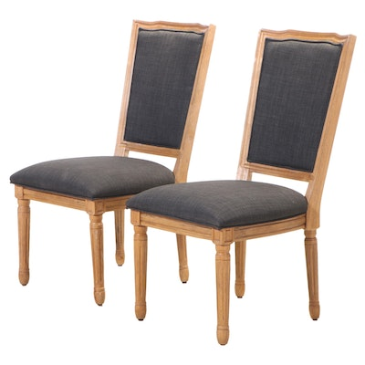 Pair of Louis XVI Style Upholstered Hardwood Side Chairs