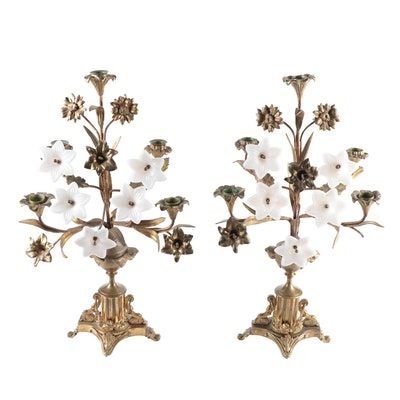 Pair of Art Nouveau Brass and Opalescent Glass Floral Five-Light Candelabra