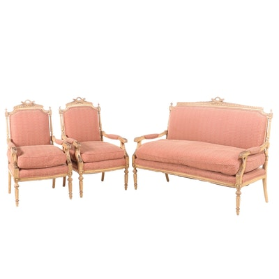 Louis XVI Style Painted Wood Upholstered Three-Piece Seating Group