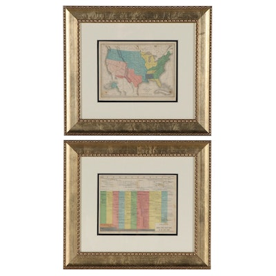 Transfer Lithograph Map and Chart of United States History