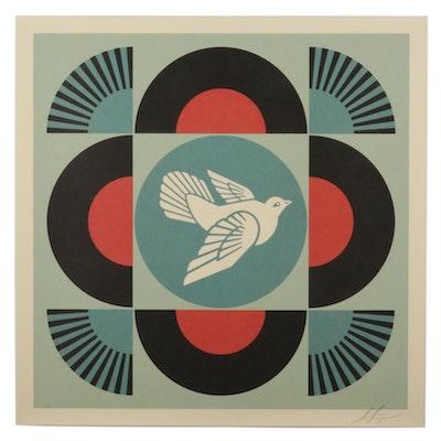 "Shepard Fairey Offset Lithograph ""Geometric Dove (Black),"" 2021"