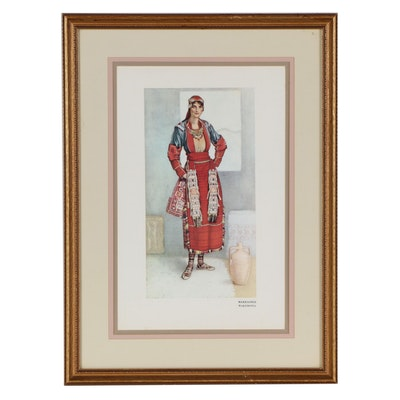 Offset Lithograph After Nicolas Sperling of Greek Macedonian Woman's Dress