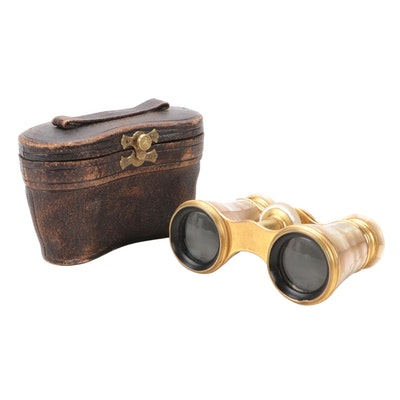 Lemaire Mother-of-Pearl Opera Glasses with Leather Case