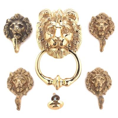 Cast Brass Lion's Head Door Knocker and Wall Hooks, 20th Century