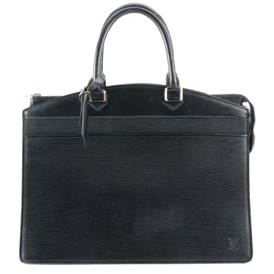 Louis Vuitton Riviera Handbag in Noir Epi and Smooth Leather