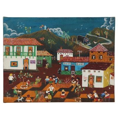 Latin American Folk Art Oil Painting of City Square