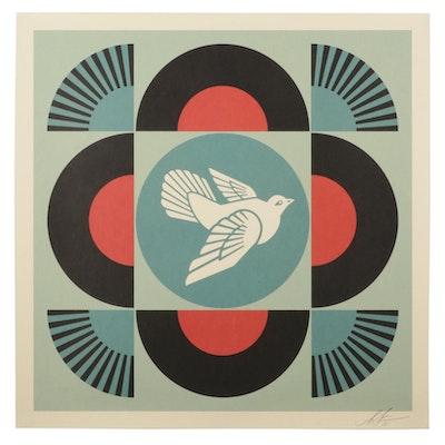 "Shepard Fairey Offset Print ""Geometric Dove (Black),"" 2021"