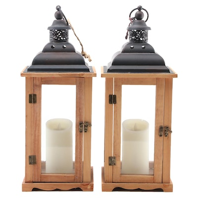 Battery Operated Wood and Glass LED Candle Lanterns
