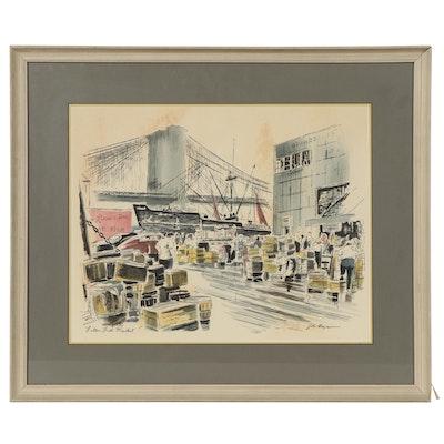 "Serigraph After John Hayman ""Fulton Fish Market,"""