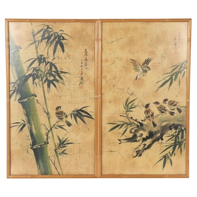 Chinese Ink and Watercolor Paintings of Bamboo Stalks and Birds