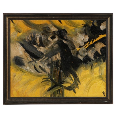 Abstract Yellow and Black Oil Painting