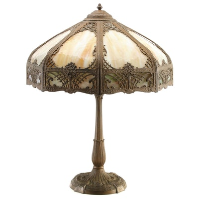 Bent Glass Slag Glass Silhouette Overlay Table Lamp, Early to Mid 20th C