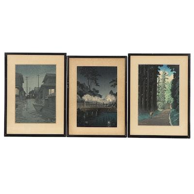 Kawase Hasui and Tsuchiya Kōitsu  Landscape Restrike Woodblocks, Circa 1940