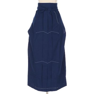 Women's Blue Wool Hakama, Shōwa Period
