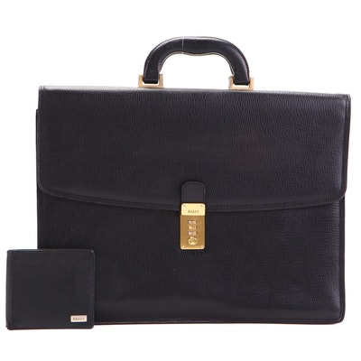 Bally Embossed Leather Briefcase and Bifold Wallet