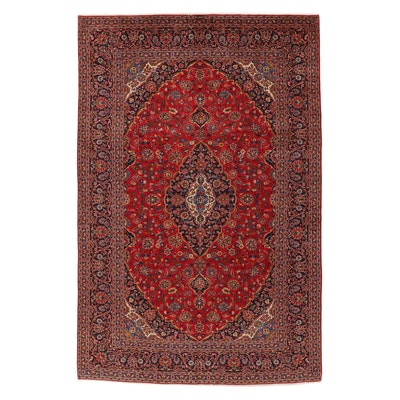 9'5 x 14'1 Hand-Knotted Persian Kashan Room Sized Rug