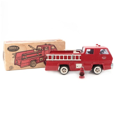 Tonka Pressed Steel Fire Truck Pumper, early 1970s
