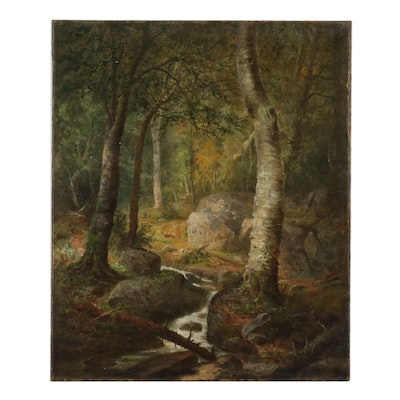 Forest Creek Landscape Oil Painting, Mid-Late 19th Century