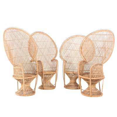 """Four Moroccan Style Rattan """"Peacock"""" Chairs"""