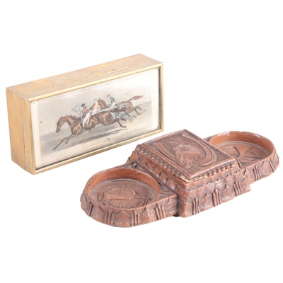 English Brass Trinket Box with Horse Racing Etching and Fox Hunt Desk Caddy