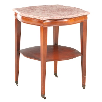 Hepplewhite Style Mahogany End Table with Faux Marble Top