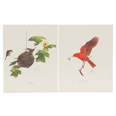 """Ray Harm Offset Lithographs """"Summer Tanager"""" and """"House Wren"""""""