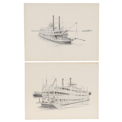 Offset Lithographs of Steamboats After J. Franklin Brown
