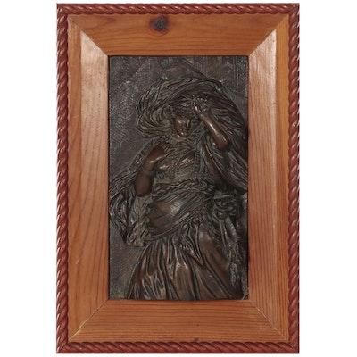 B. Forni Cast Bronze Relief Sculpture of Figure, 1882