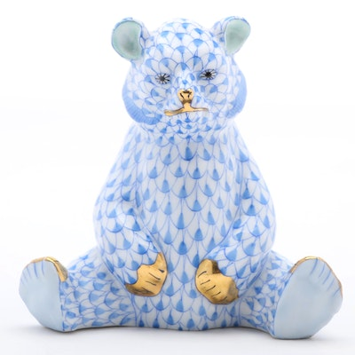 """Herend Blue Fishnet with Gold """"Baby Bear Sitting"""" Porcelain Figurine, 1998"""