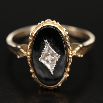 1940s Victorian Revival 10K Black Onyx and Diamond Oval Ring