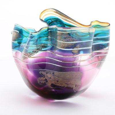 Scott and Laura Curry Handblown Studio Art Glass Handkerchief Bowl, 1994