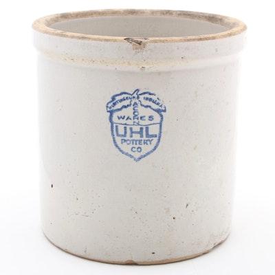 Uhl Pottery Co. Acorn Wares Salt Glazed Stoneware Crock, Early 20th Century