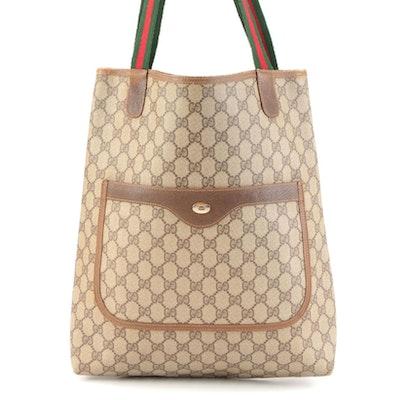 Gucci Accessory Collection Tote Bag in GG Supreme Canvas with Striped Web Straps