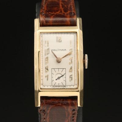 Vintage Waltham 14K Tank Style Wristwatch