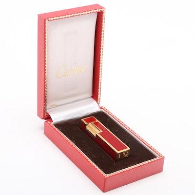 Cartier 18K Gold Plate Red Enamel Cube Lighter in Presentation Box