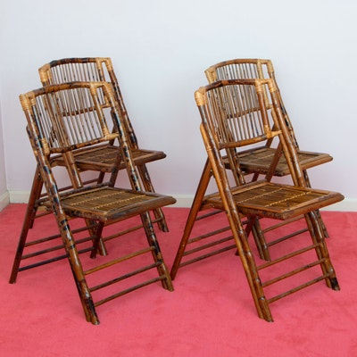 Four Flash Furniture Contemporary Bamboo Folding Chairs