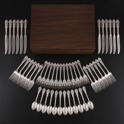"""Wallace """"Sir Christopher"""" Sterling Silver Flatware with Chest, 1930s"""